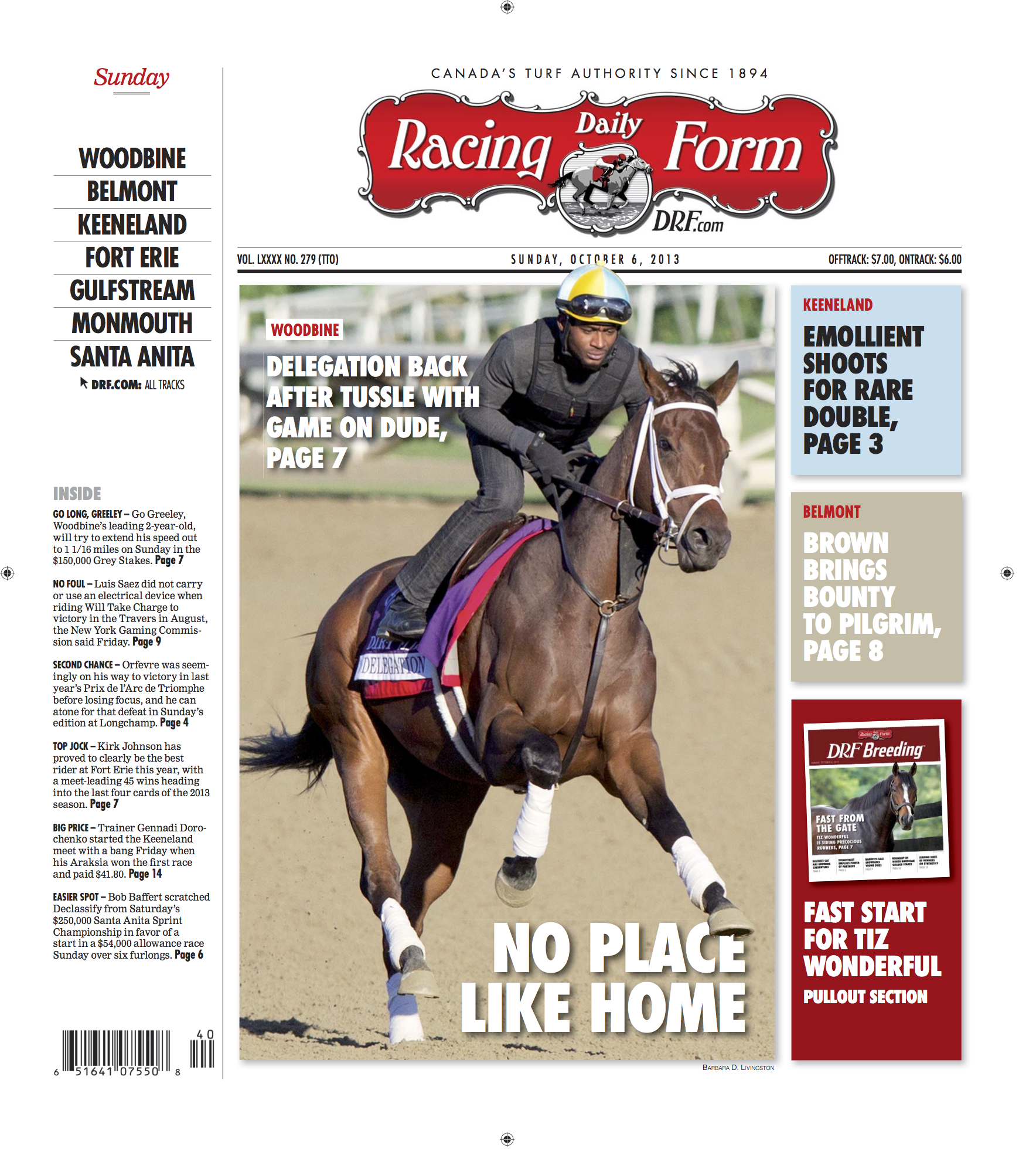 Daily Racing Form Cover Page