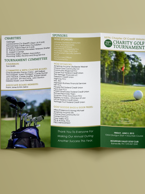 Credit Union Charity Golf Tournament Program Outside