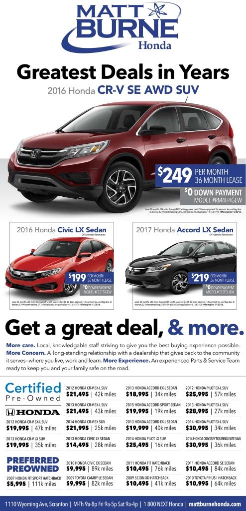 Matt Burne Honda Full Page Newspaper Ad
