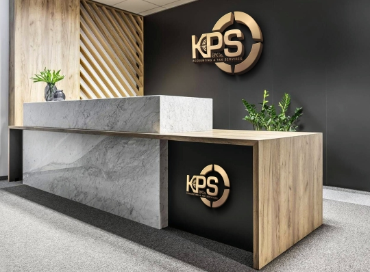 KPS Accounting & Tax Logo Reception Desk
